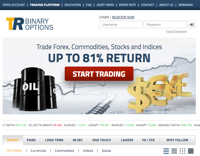 Traderush screenshot