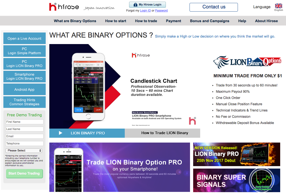 Hirose lion binary options